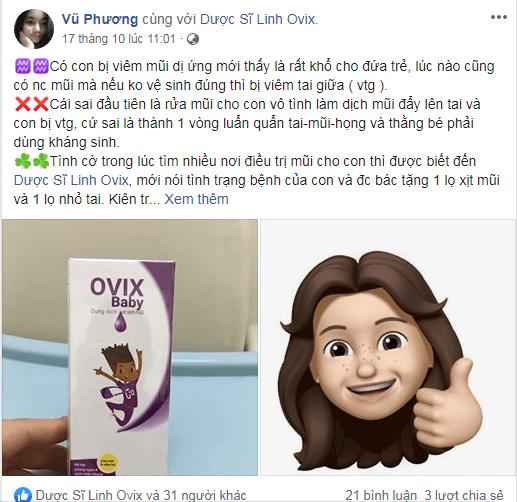 Chia sẻ của mẹ đã cho con dùng ovix