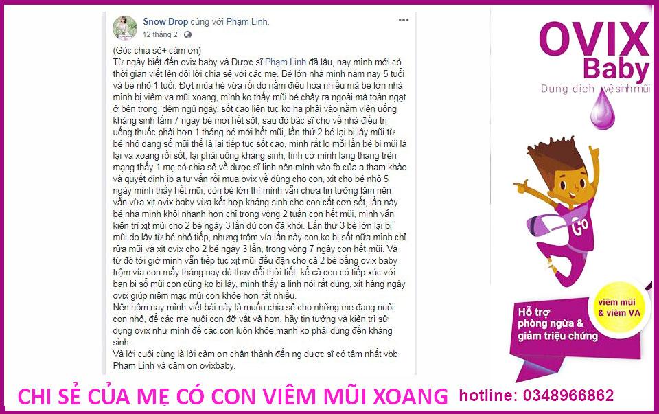 Chia sẻ của mẹ có con viêm VA xoang với kinh nghiệm dùng Ovix baby