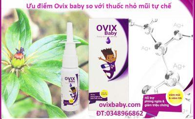 Ưu điểm của xịt mũi Ovix baby so với các thuốc nhỏ mũi kháng sinh và corticoid