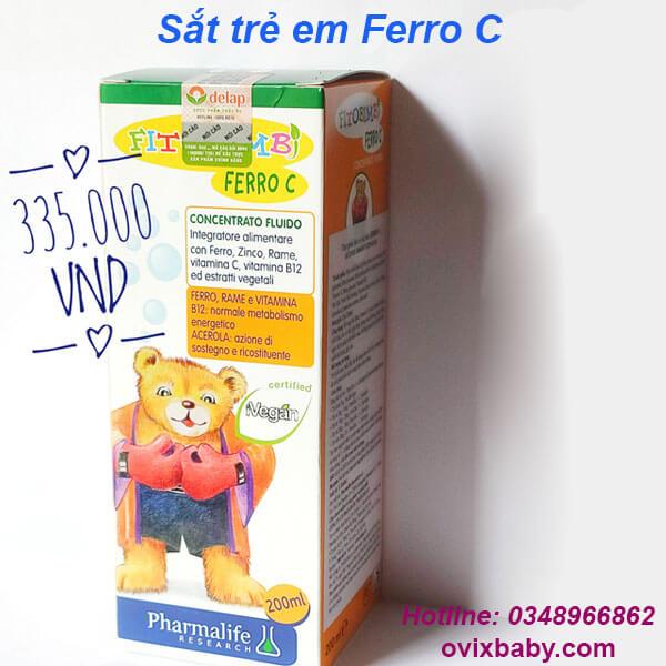Bổ sung sắt trẻ em Ferro C: bổ sung Sắt, Kẽm, Vitamin C và các Vitamin, khoáng chất khác cho cơ thể