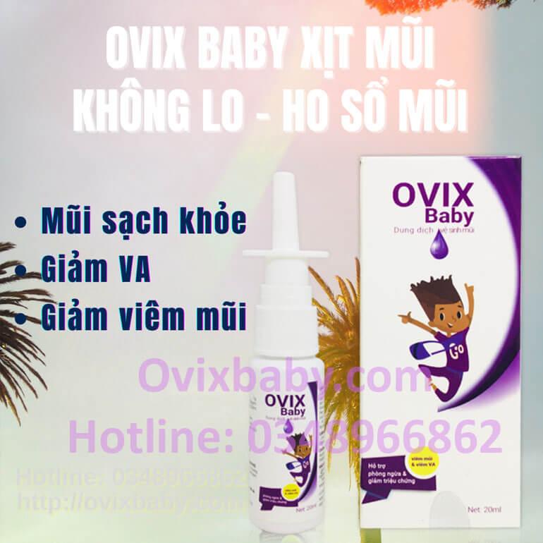Ovix baby xịt mũi sạch khỏe an toàn không kháng sinh giảm viêm mũi, viêm VA