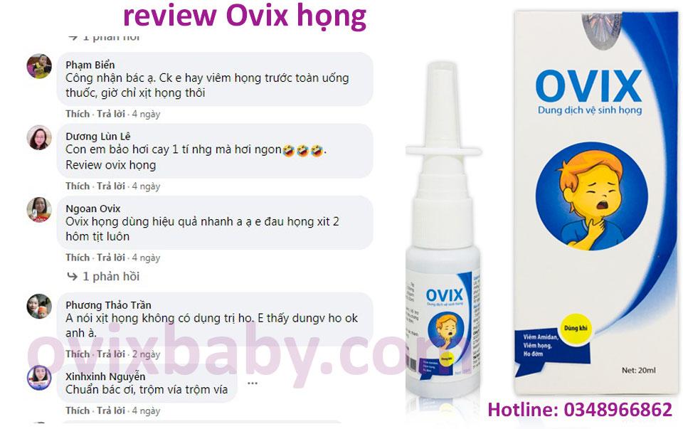 Viêm họng viêm amidan dùng xịt họng Ovix