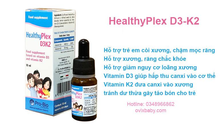 Thực phẩm bảo vệ sức khỏe HEALTHYPLEX D3K2 Công dụng: Bổ sung vitamin D3 và vitamin K2