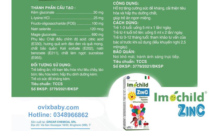 Imochild Zinc thành phần và công dụng