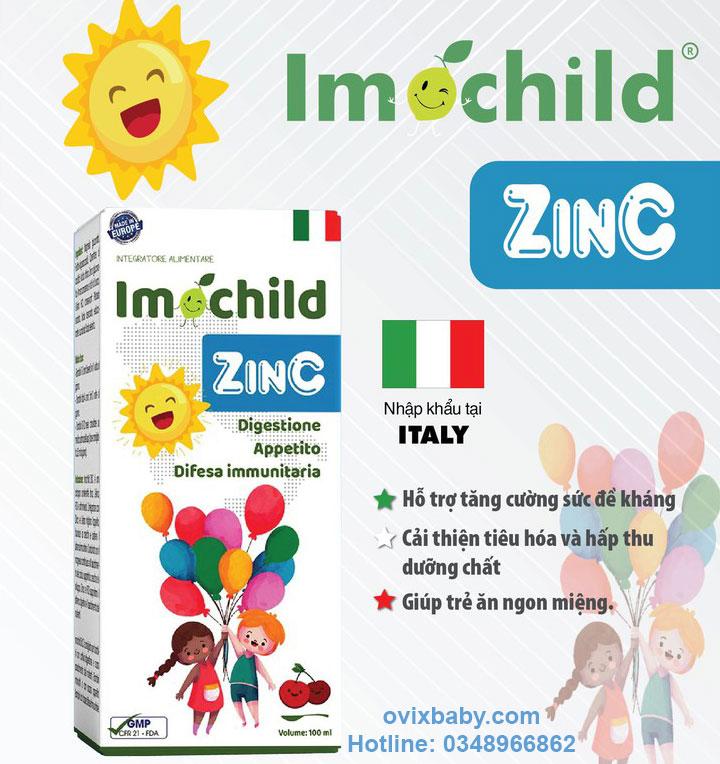 Imochild Zinc tiêu hóa khỏe trẻ ăn ngon tăng đề kháng