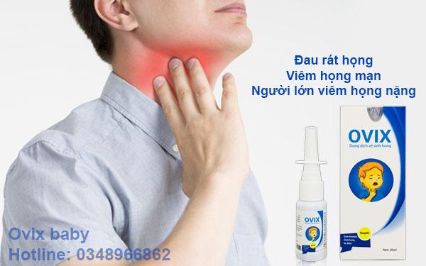 Ovix xịt họng hiệu quả với đau rát họng Viêm họng mạn, người lớn viêm họng nặng