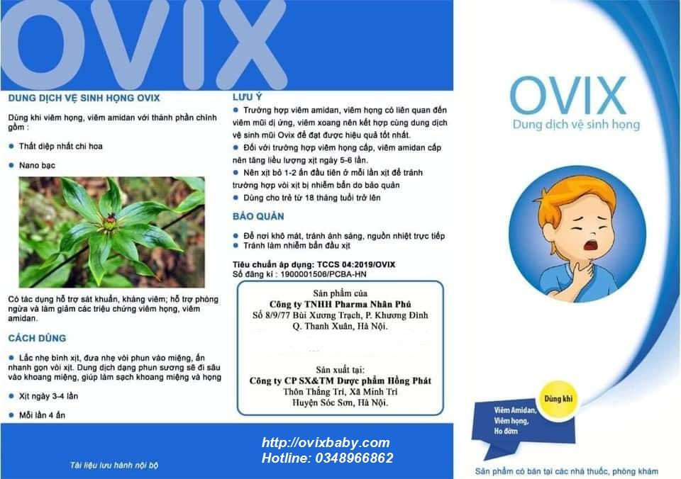 Xịt họng Ovix giảm viêm họng viêm amidan ho đờm cho trẻ em và người lớn