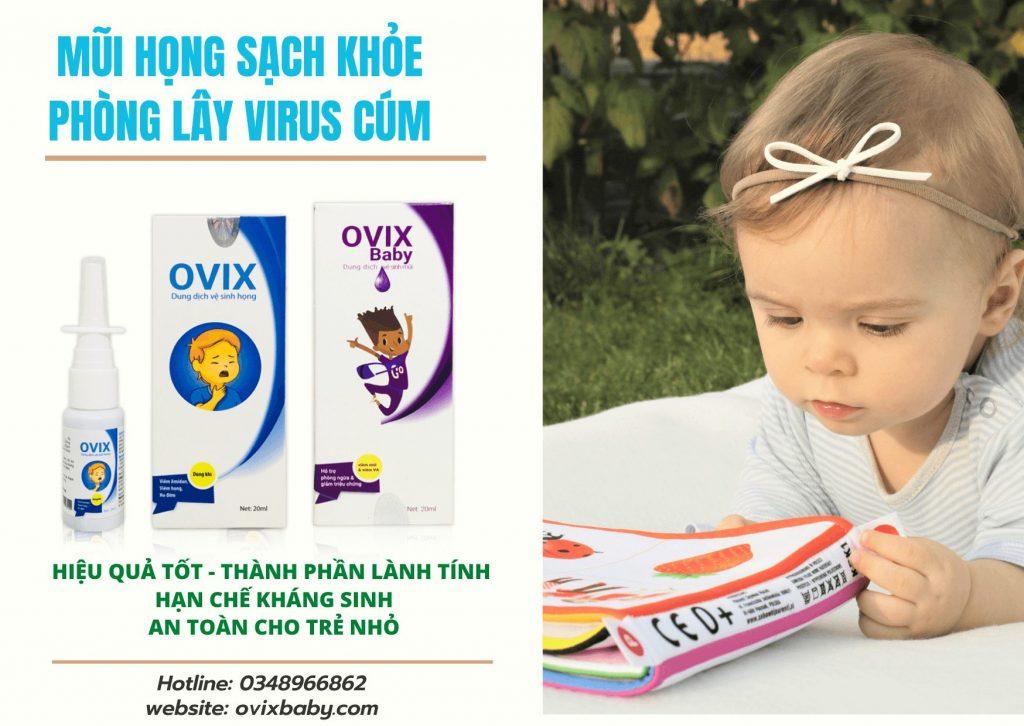 Ovix baby giúp mũi họng sạch khỏe lành viêm phòng lây virus