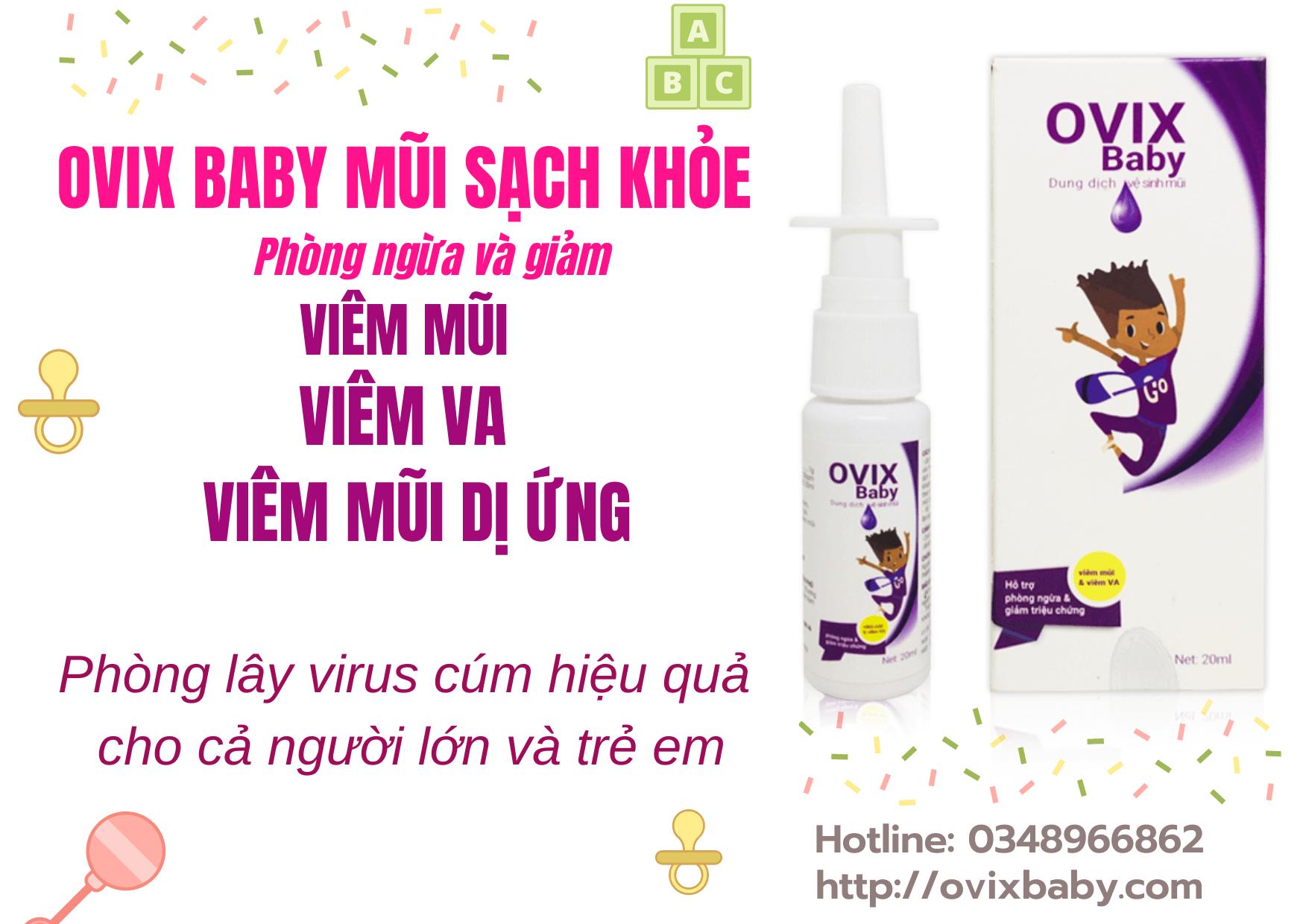 Ovix baby xịt mũi sạch khỏe phòng lây virus cúm hiệu quả giảm viêm mũi viêm VA
