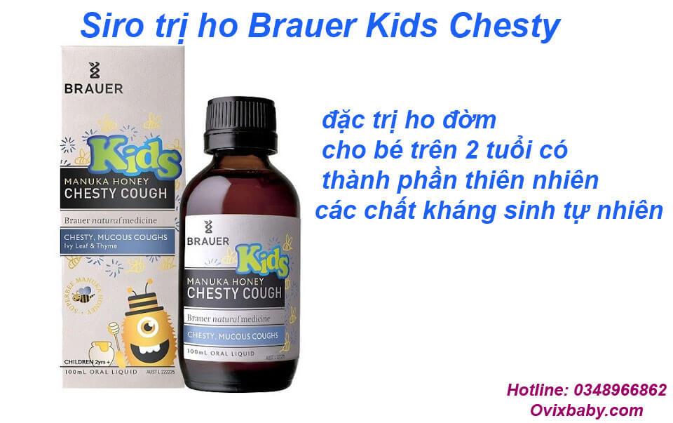 Siro trị ho Brauer Kids Chesty đặc trị ho đờm cho bé trên 2 tuổi