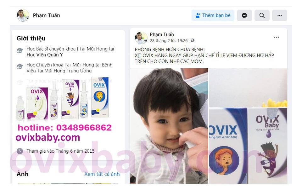 Ovix baby được khuyên xịt hàng ngày giúp hạn chế viêm đường hô hấp trên